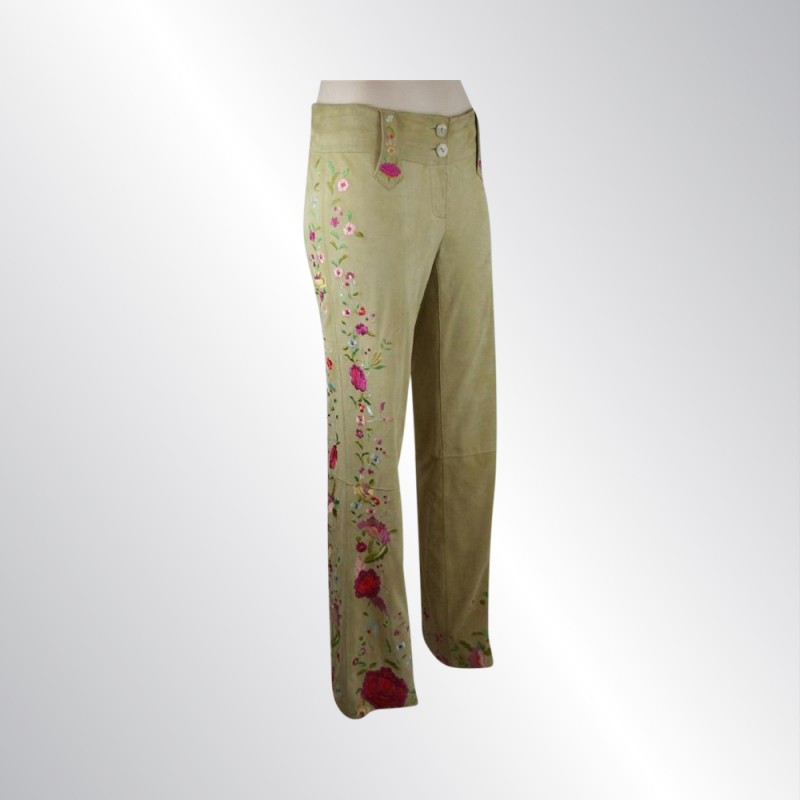 DOLCE & GABBANA LIGHT GOLD TAN GOATSKIN SUEDE PANTS EMBROIDERY, LINED, SIZE 40/6