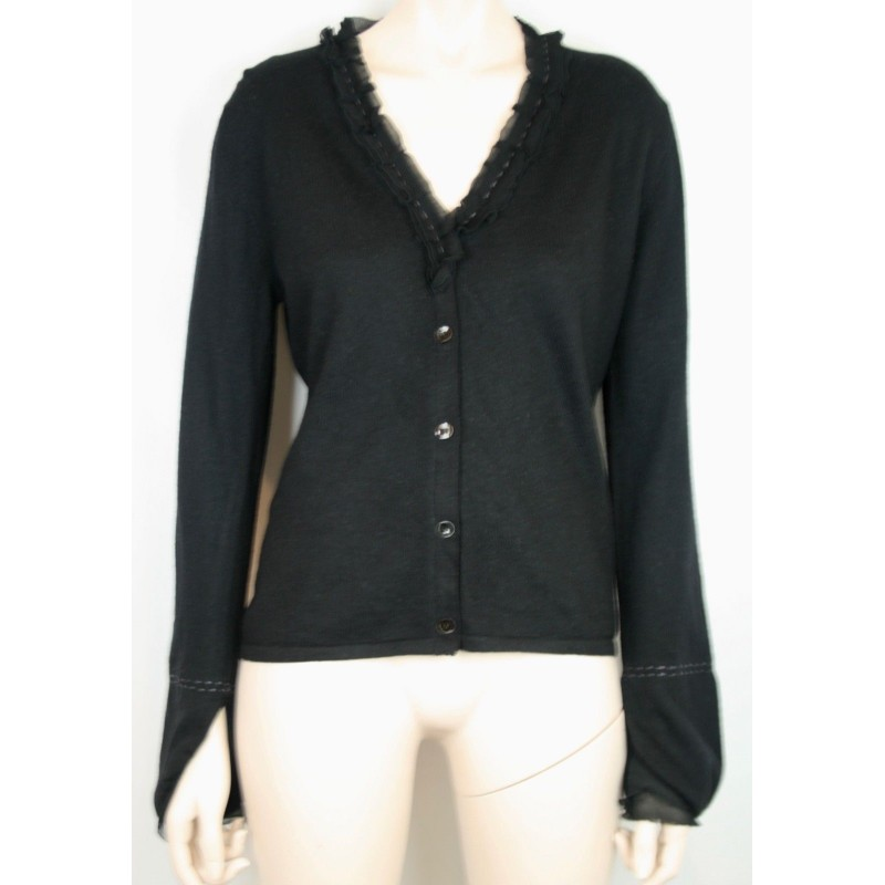 CARRIE FORBES FIRENZE BLACK MERINO WOOL CARDIGAN WITH SHEER SILK TRIM, SIZE M/L