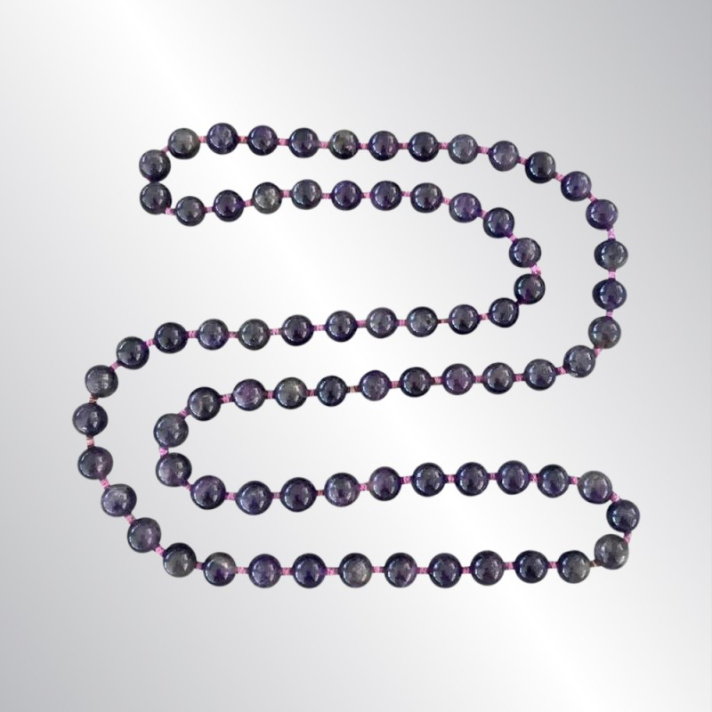 """12 MM AMETHYST POLISHED ROUND BEAD NECKLACE, KNOTTED, 34"""" LONG STRAND, 105 GRAMS"""