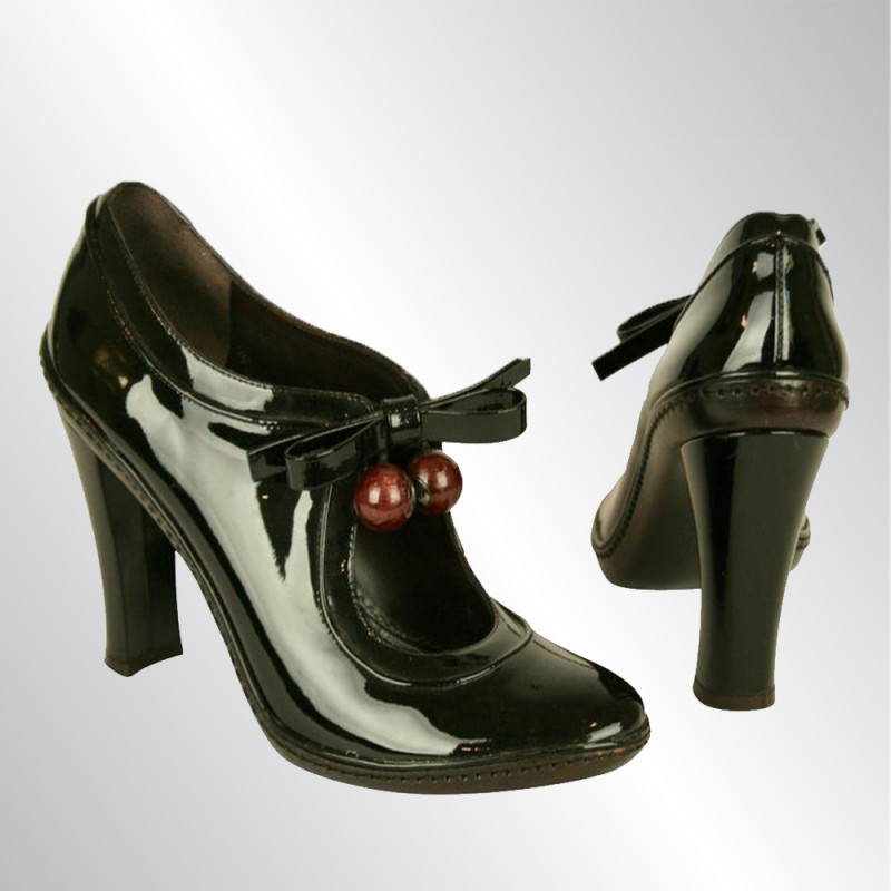 CELINE BLACK PATENT LEATHER SHOES WITH BLOCK HEELS & ANKLE STRAPS PUMPS, SIZE 39