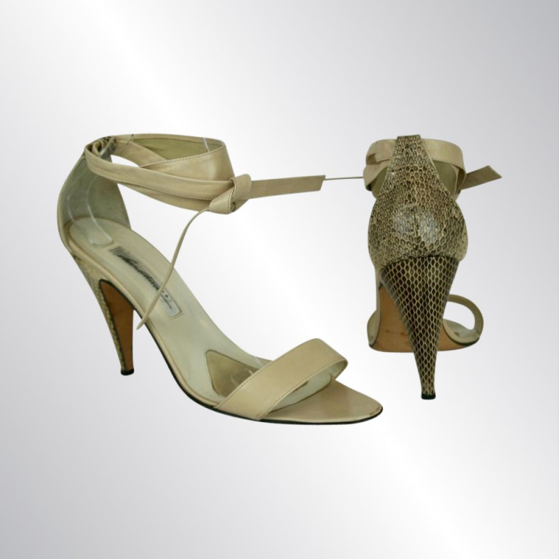 BRIAN ATWOOD NUDE BEIGE LEATHER & SNAKESKIN SANDALS SHOES, ANKLE STRAPS, SIZE 40