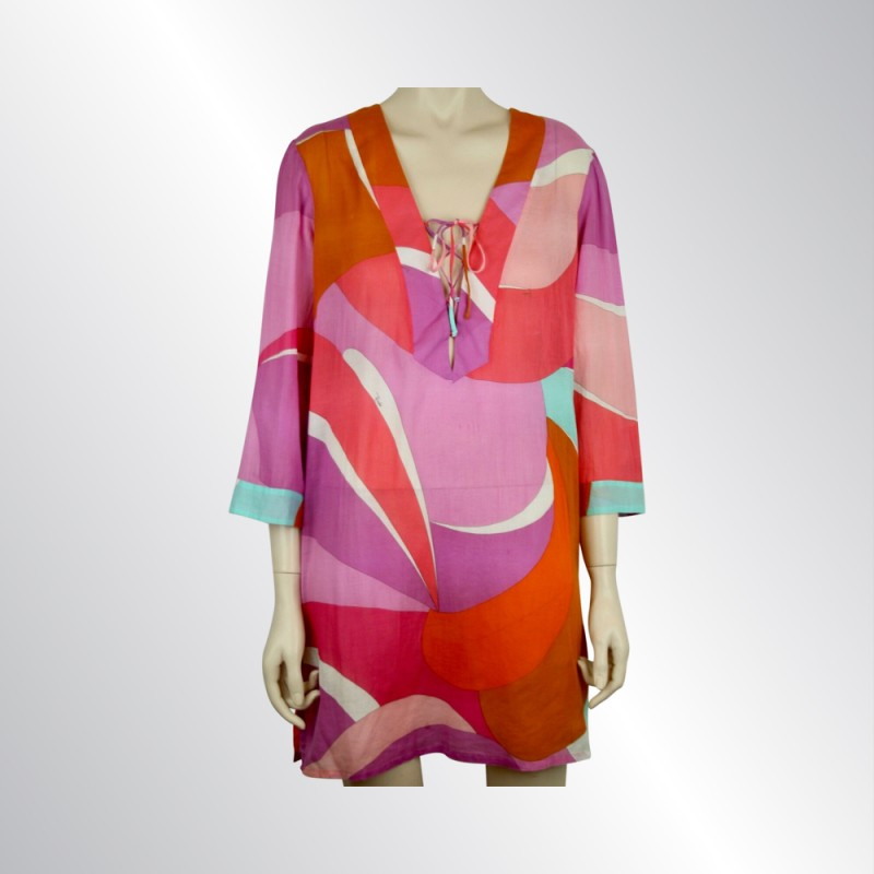 EMILIO PUCCI CAFTAN DRESS SWIMSUIT COVER-UP PINK ORANGE WHITE TURQUOISE IT40/US6