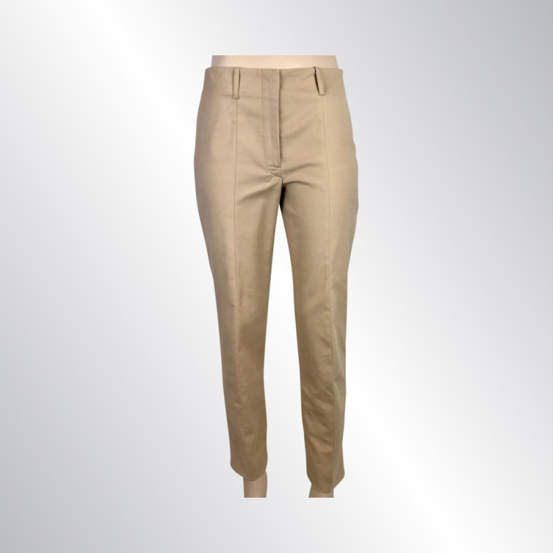 JIL SANDER COTTON BLEND BEIGE SLIM TAPERED PANTS, STRETCH TAN KHAKI GERMAN34/US6