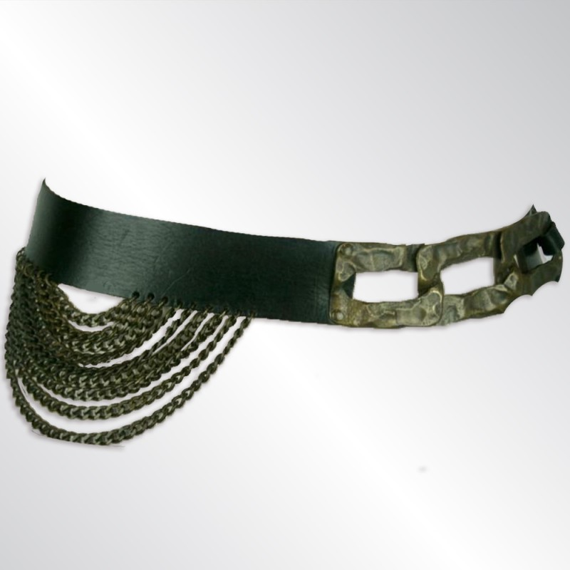 BOHEMIAN DARK BROWN LEATHER BELT WITH WIDE BRONZE TONE METAL LINKS AND CHAIN