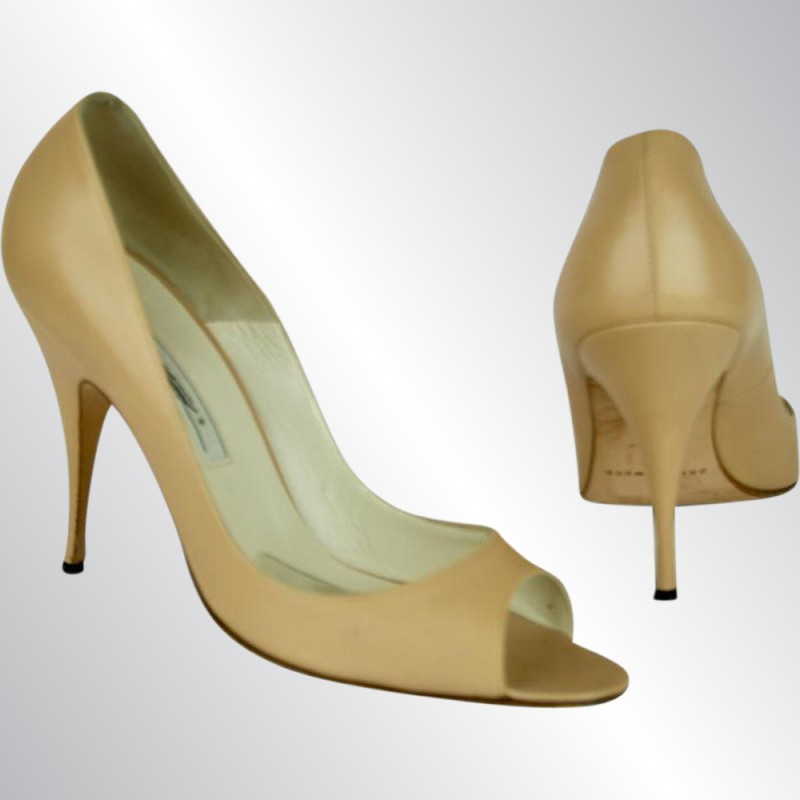 """BRIAN ATWOOD NUDE BEIGE LEATHER PEEP TOE HEELS SHOES, SIZE 39.5, 4"""" HEELS"""