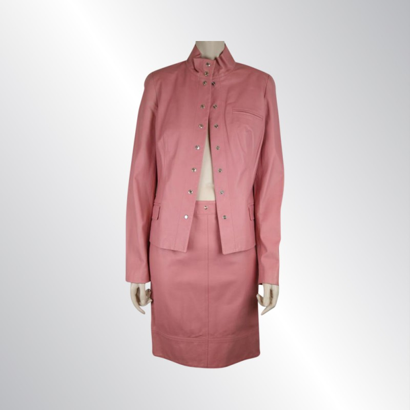 NWOT PIAZZA SEMPIONE 2 PC PINK LEATHER JACKET & SKIRT SUIT SIZE 40/42 - SIZE 8/6