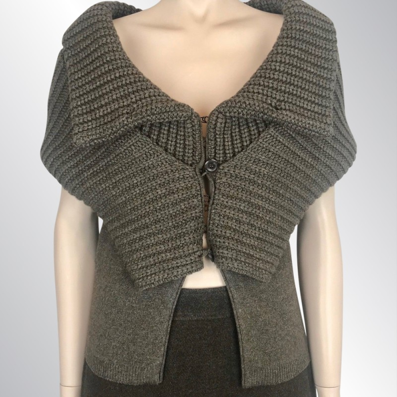 NWT GIVENCHY BROWN CASHMERE SWEATER CARDIGAN OFF SHOULDER SHAWL COLLAR, M $1875