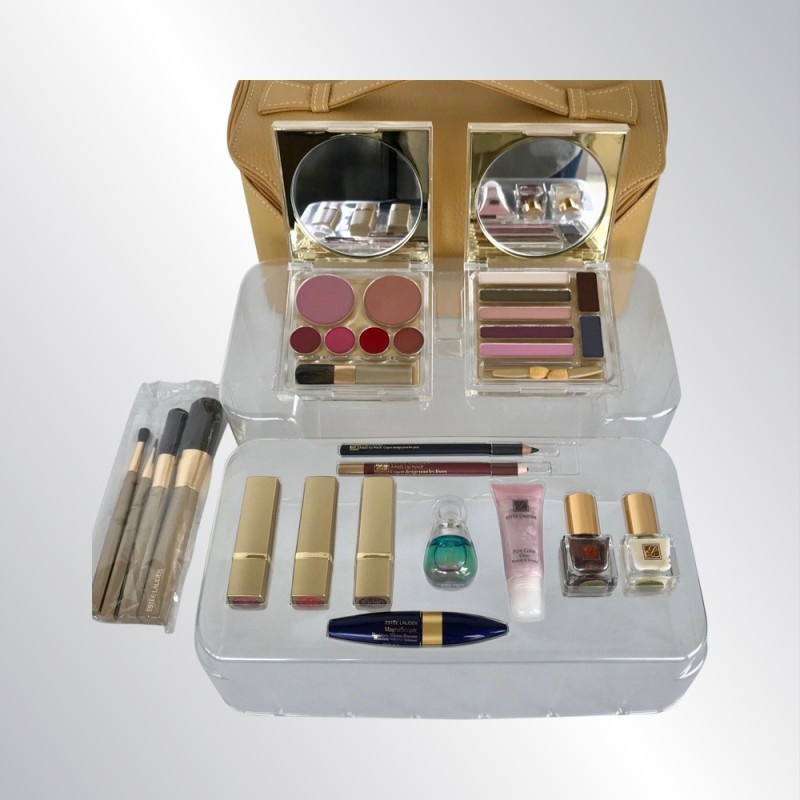 ESTEE LAUDER 16 PC COMPLETE COSMETIC MAKEUP SET IN GOLD ZIPPERED STORAGE CASE