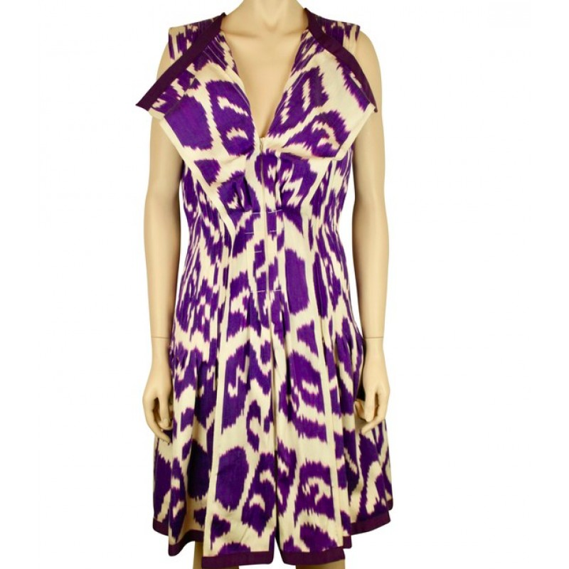 NWT OSCAR DE LA RENTA PURPLE & WHITE PLEATED SILK BLEND IKAT DRESS SIZE 6, $2750