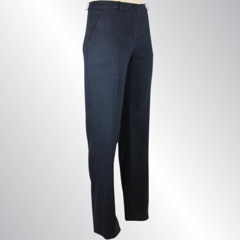 VALENTINO NAVY BLUE LINEN BLEND TAILORED PANTS, SLIM LEGS, WITH STRETCH, SIZE 6