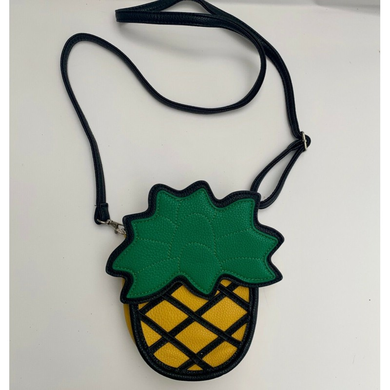 VERY FUN PINEAPPLE SHAPED YELLOW & GREEN LEATHER SHOULDER CROSSBODY HAND BAG