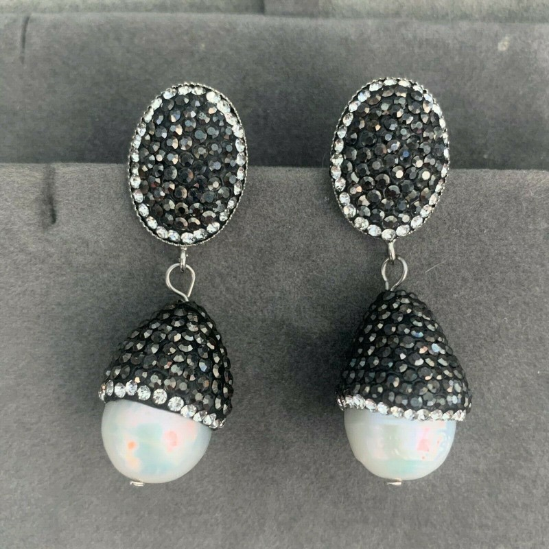 LARGE 12 MM BAROQUE FRESHWATER PEARL DANGLE EARRINGS BLACK RHINESTONES CRYSTALS