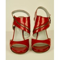 SERGIO ROSSI SEXY RED EEL SKIN SANDALS SHOES, SILVER ZIPPERS SIZE 39, WORN ONCE!