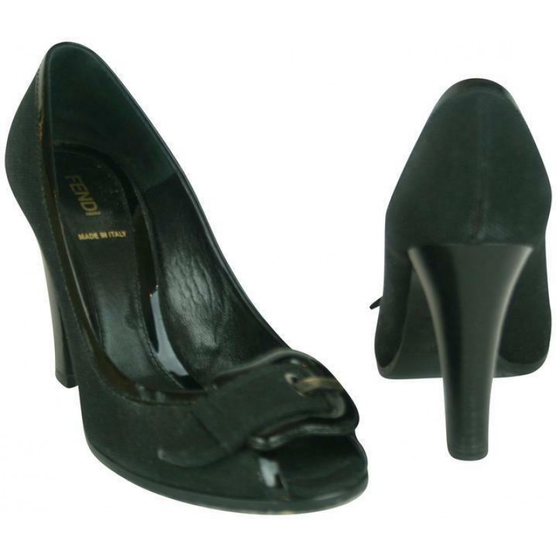 FENDI BLACK FABRIC & PATENT LEATHER SHOES WITH B BUCKLE & PEEP TOE, SIZE 39.5