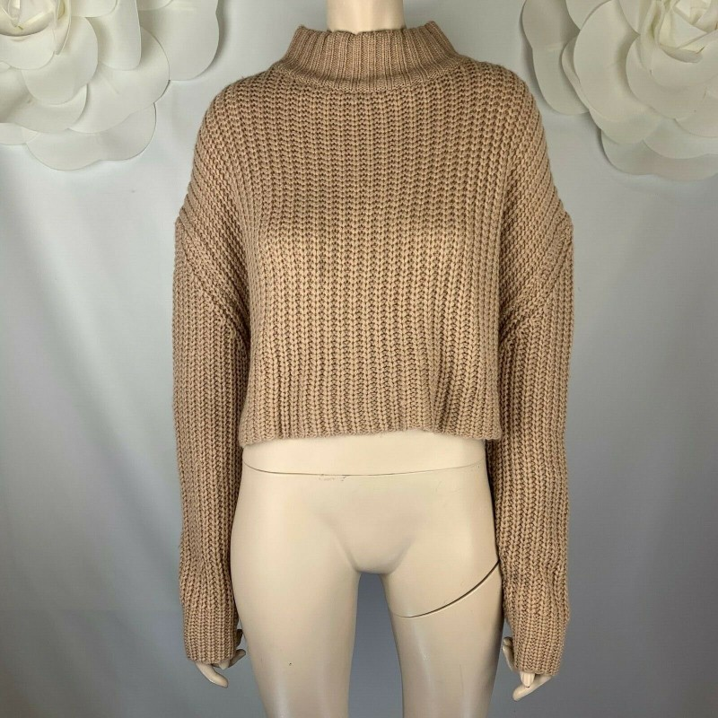 FOREVER 21 BEIGE CAMEL BROWN CROPPED LONG SLEEVE SWEATER, RIBBED, SIZE LARGE