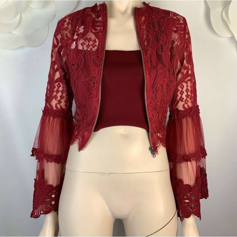 NWT LF SEEK THE LABEL BURGUNDY MAROON SEMI SHEER RUFFLE LACE JACKET, SZ SMALL