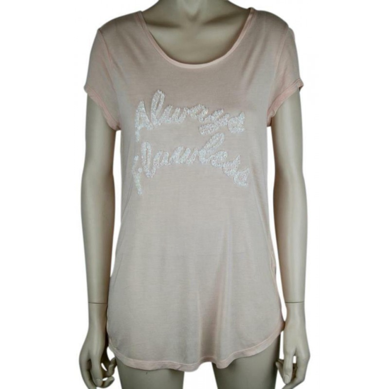 """NWOT H&M LIGHT PINK TEE T SHIRT TOP """"ALWAYS FLAWLESS"""" IN TINY WHITE SEQUINS SZ M"""