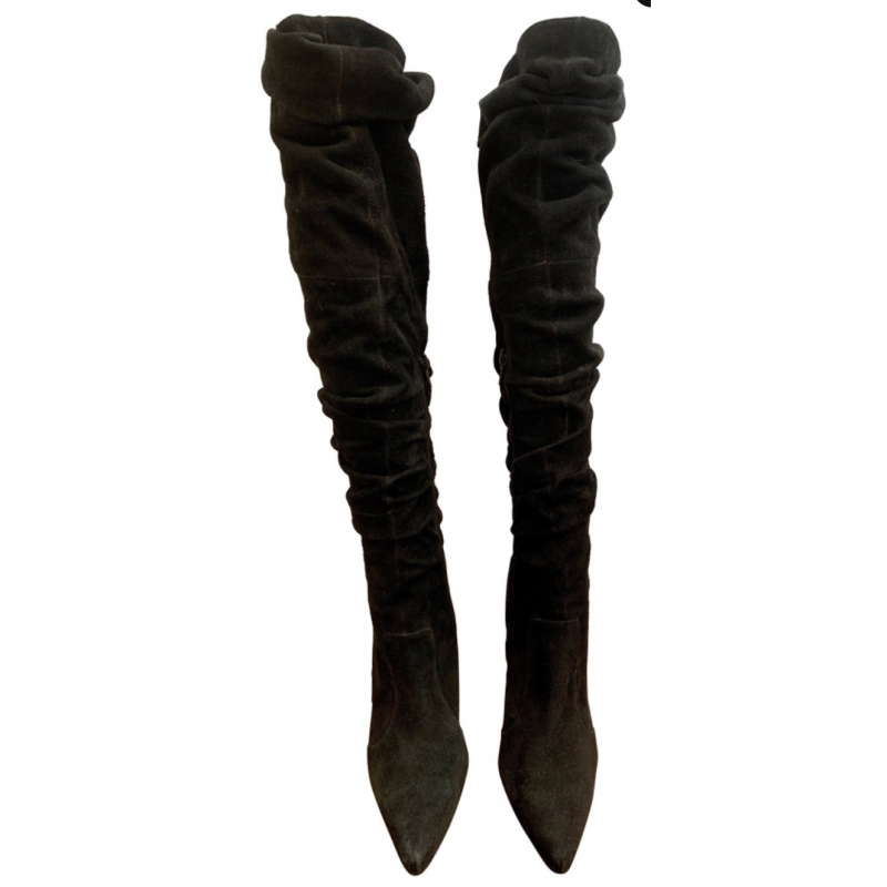 JEFFREY CAMPBELL BLACK SUEDE LEATHER OVER KNEE BOOTS, ZIPPERS, STILETTO, SZ 6.5
