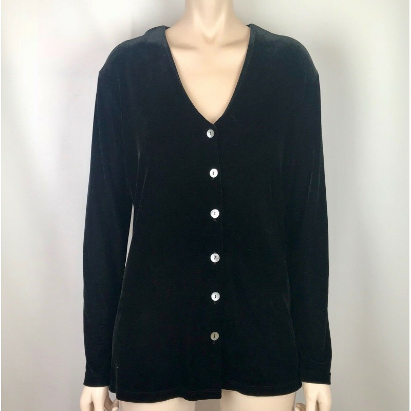 BLACK VELVET LONG SLEEVE TUNIC TOP CARDIGAN, MOTHER OF PEARL BUTTONS, SIZE M