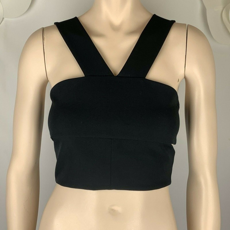 SEXY TOPSHOP BLACK CROPPED SLEEVELESS TOP, CUTOUTS ON SIDE, V NECK, SIZE 2