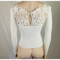 BEAUTIFUL CHANEL WHITE FLORAL LACE CROCHET LONG SLEEVE TOP, FRENCH EU 38, USA 8