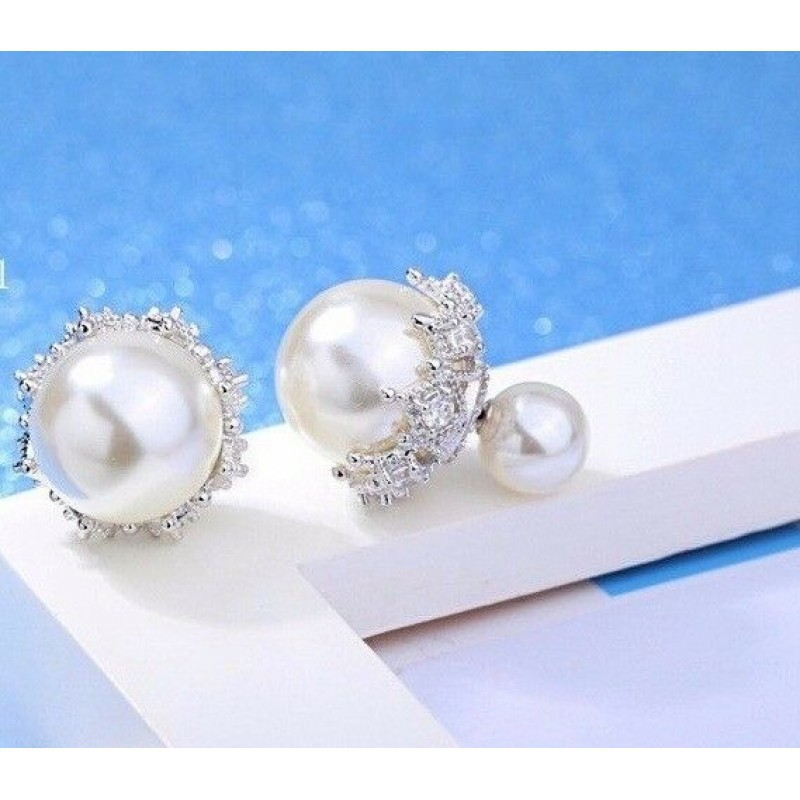 DOUBLE WHITE PEARL TRIBAL EARRINGS STERLING SILVER POST RHINESTONES 13 MM & 7 MM