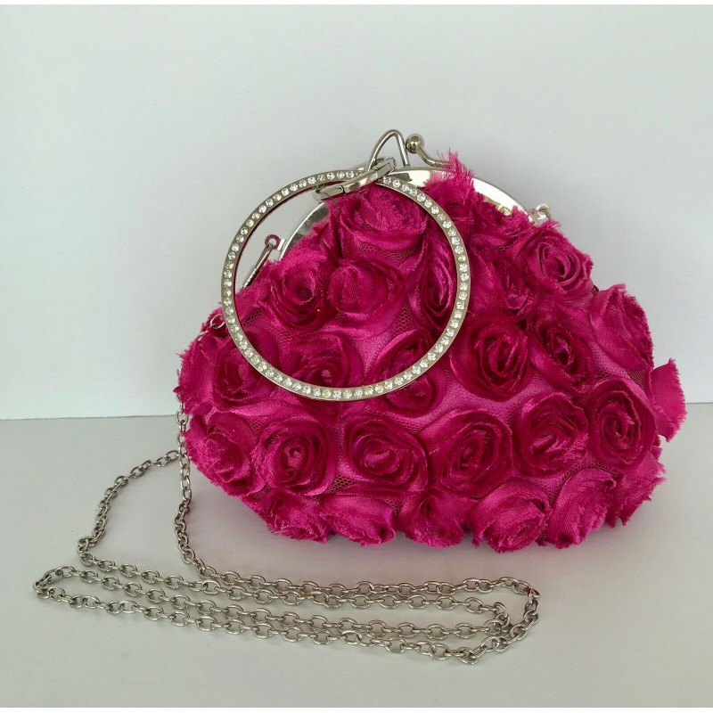 VERY PRETTY HOT PINK SATIN TULE ROSE FLOWER SHOULDER HANDBAG WRISTLET RHINESTONE