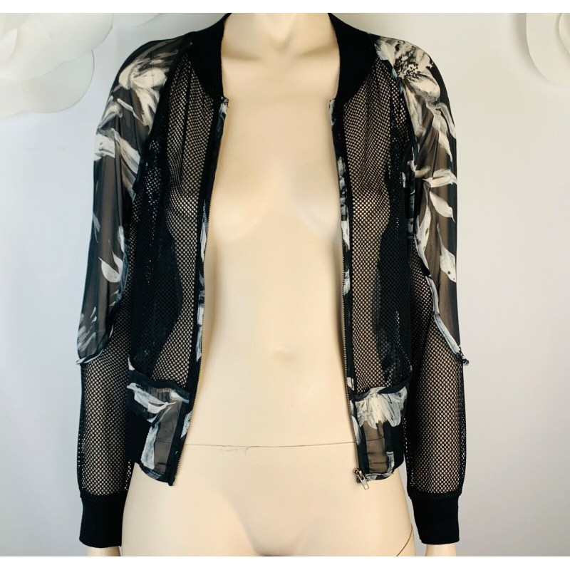 RUMOR BOUTIQUE BLACK & WHITE LACE MESH & SILKY FLORAL FABRIC ZIP JACKET, SIZE XS