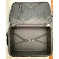 "KAREN MILLEN BLACK PATENT LEATHER & PONY HAIR 20"" TRAVEL CARRYON SUITCASE WHEELS"