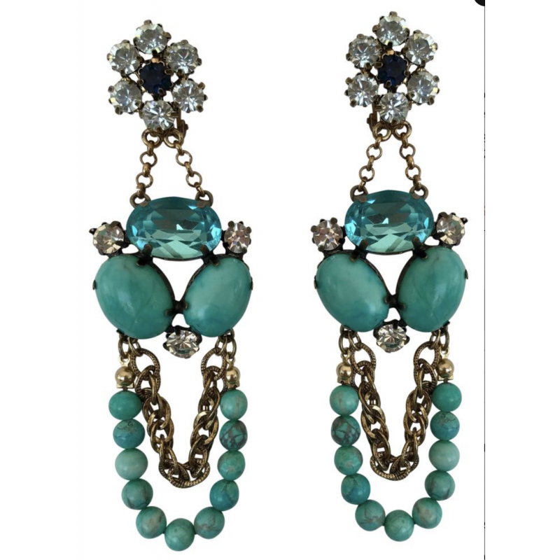 NEIMAN MARCUS LARGE TURQUOISE BEAD, RHINESTONE & GOLD DANGLE CHANDELIER EARRINGS