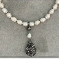 """LARGE 10 MM WHITE FRESHWATER PEARL NECKLACE WITH BLACK CRYSTAL PENDANT, 16.5"""""""