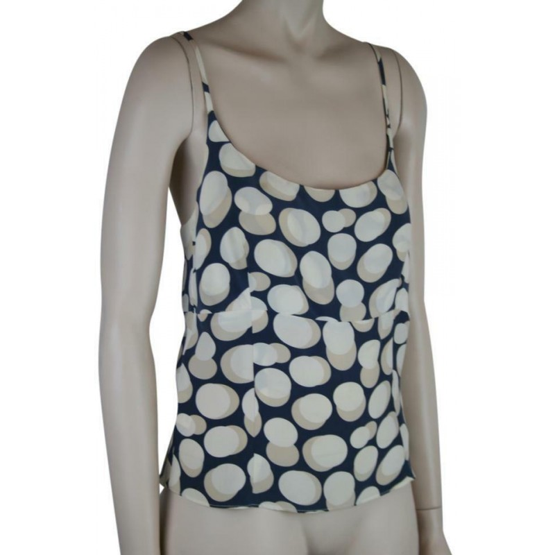 LAURA STEARN CRUCIANO NOVECENTO SILK TOP CAMISOLE RACER IVORY NAVY BLUE, SZ 40/6