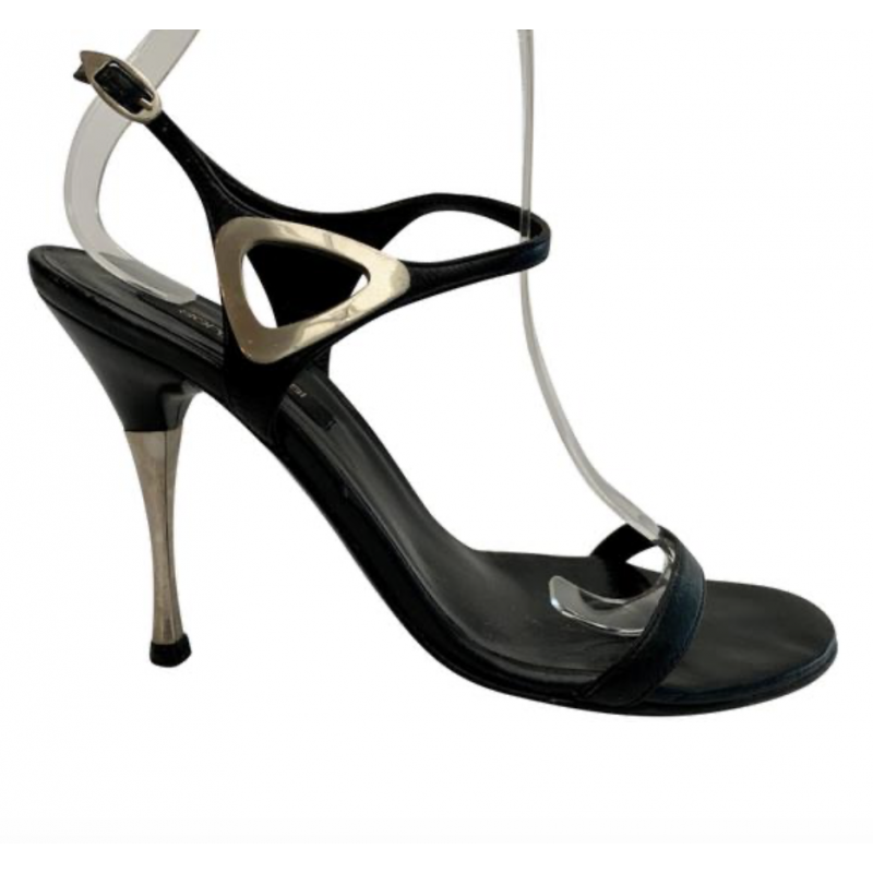 SERGIO ROSSI BLACK LEATHER WITH SILVER TRIM STRAPPY ANKLE STRAP SANDALS SHOES 36