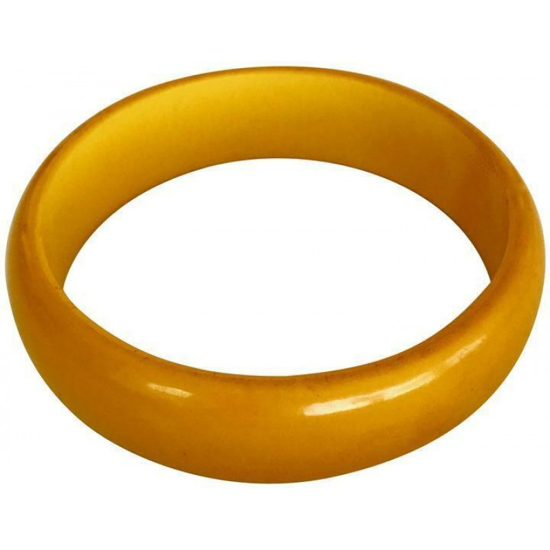 VINTAGE BUTTERSCOTCH YELLOW BAKELITE BANGLE BRACELET CUFF, WIDE