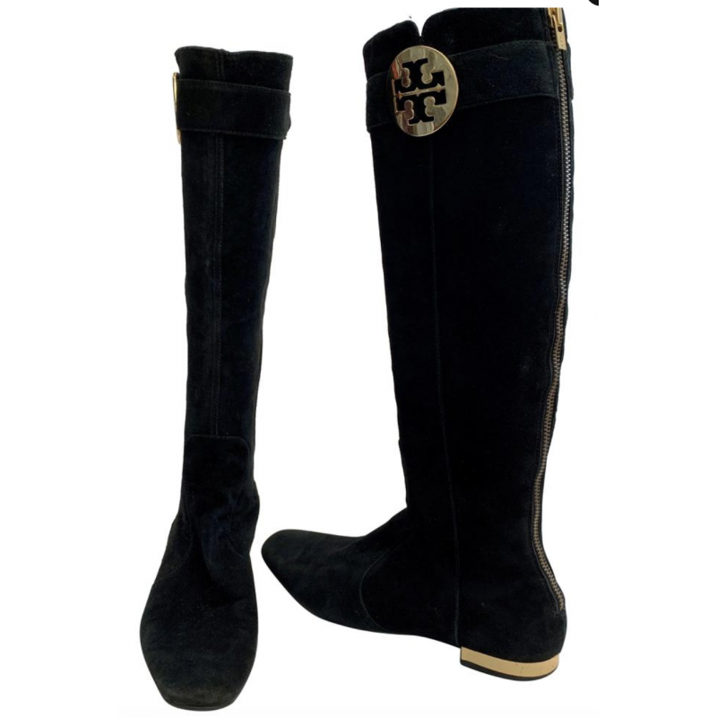 TORY BURCH BLACK SUEDE LEATHER KNEE HIGH BOOTS, ZIPPERS, GOLD FLAT HEELS, SZ 6.5