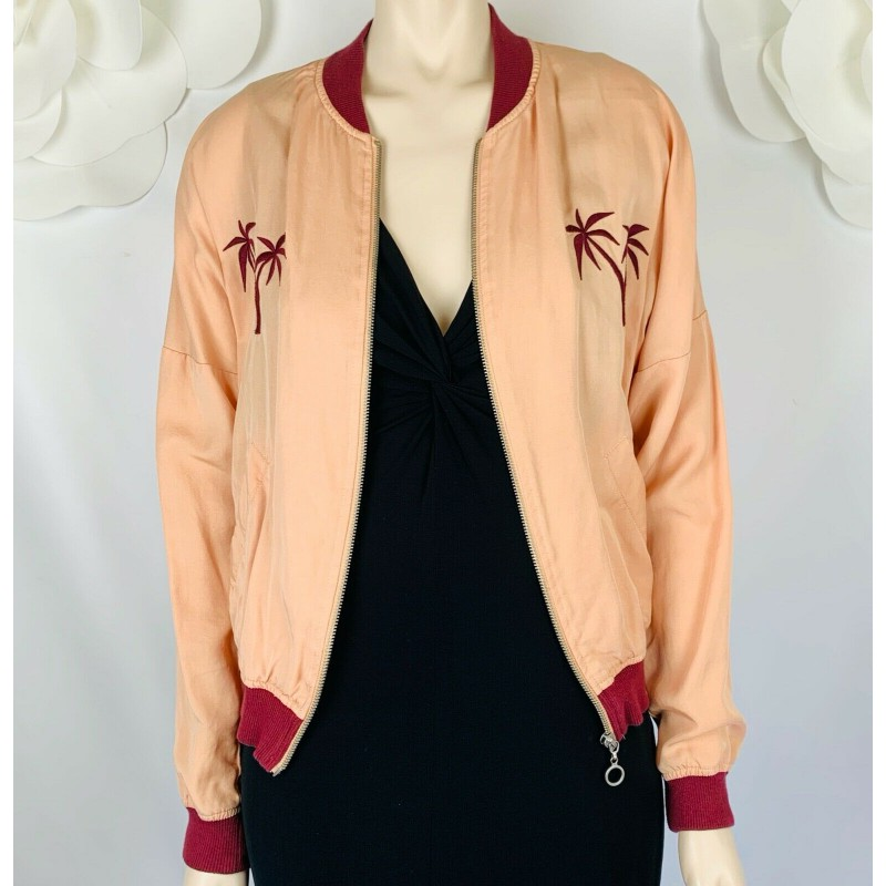 HONEY PUNCH PEACH ORANGE BURGUNDY BOMBER JACKET PALM TREES TROPICAL HAWAII SMALL