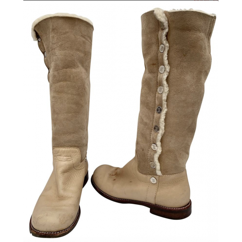 CELINE BEIGE BROWN LEATHER, SUEDE & SHEEPSKIN TALL BOOTS, SIZE 36B