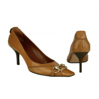 GUCCI BROWN TAN LEATHER WITH GOLD HORSE BIT CHAIN PUMPS SHOES HEELS SIZE EU39/9