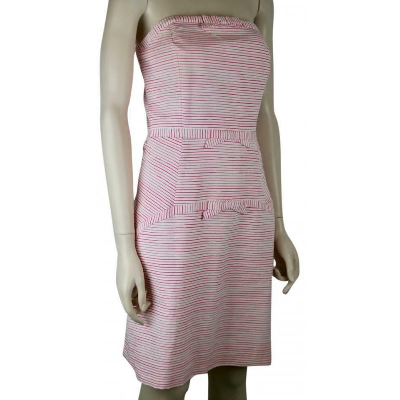VINEYARD VINES PINK & WHITE STRIPED STRAPLESS DRESS WITH BOWS, SIZE 6, WORN ONCE