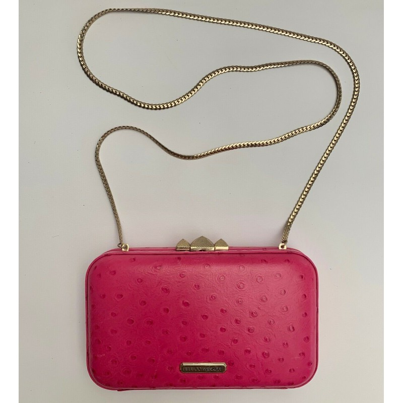 REBECCA MINKOFF PINK FUCHSIA OSTRICH LEATHER SHOULDER CROSSBODY CLUTCH HAND BAG