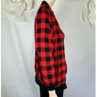 MILLAU RED AND BLACK PLAID JACKET CHECKERED, BOMBER ZIPPER, SIZE XS