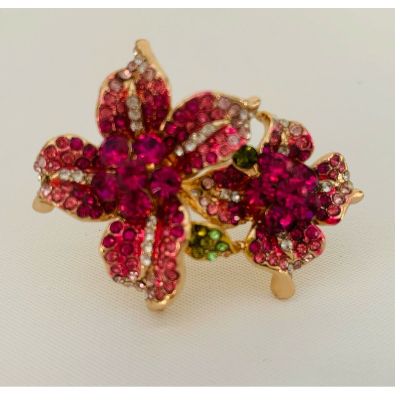 PRETTY PINK CRYSTAL ORCHID LILY 2 FLOWER RHINESTONE COCKTAIL RING, LARGE