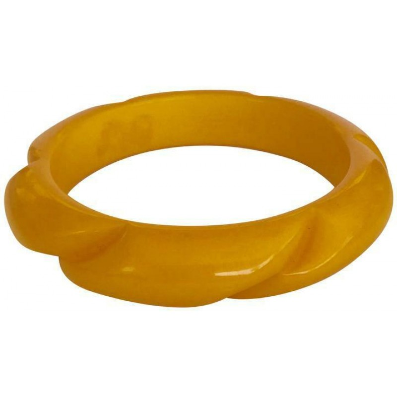 VINTAGE CARVED ROPE BUTTERSCOTCH YELLOW BAKELITE BANGLE BRACELET CUFF, WIDE