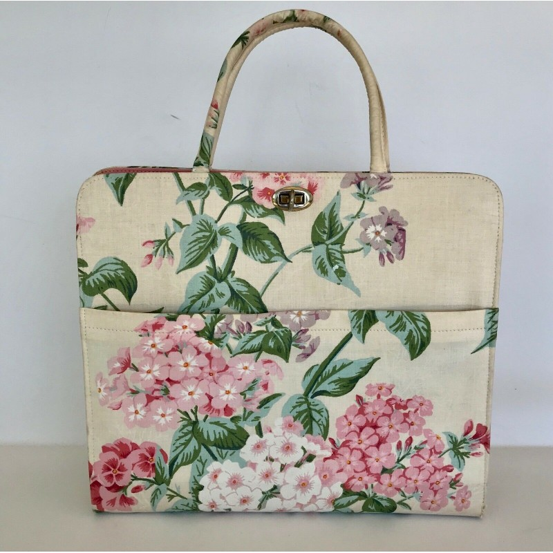 MARGARET SMITH WHITE, PINK & GREEN HYDRANGEA FLORAL FABRIC TOTE HAND BAG