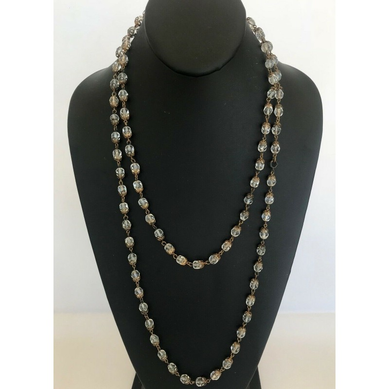 """VINTAGE CRYSTAL & GOLD FILIGREE STRAND CHAIN NECKLACE, 52"""" LONG"""