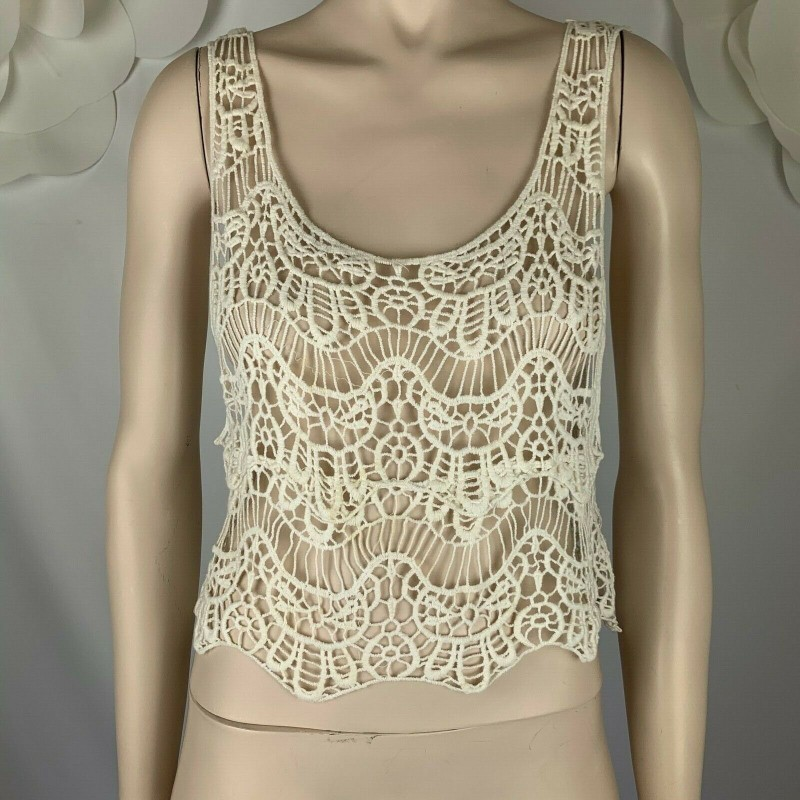 LOVE KUVAA OFF WHITE CREAM IVORY LACE CROCHET SLEEVELESS TOP, CROPPED, SIZE M
