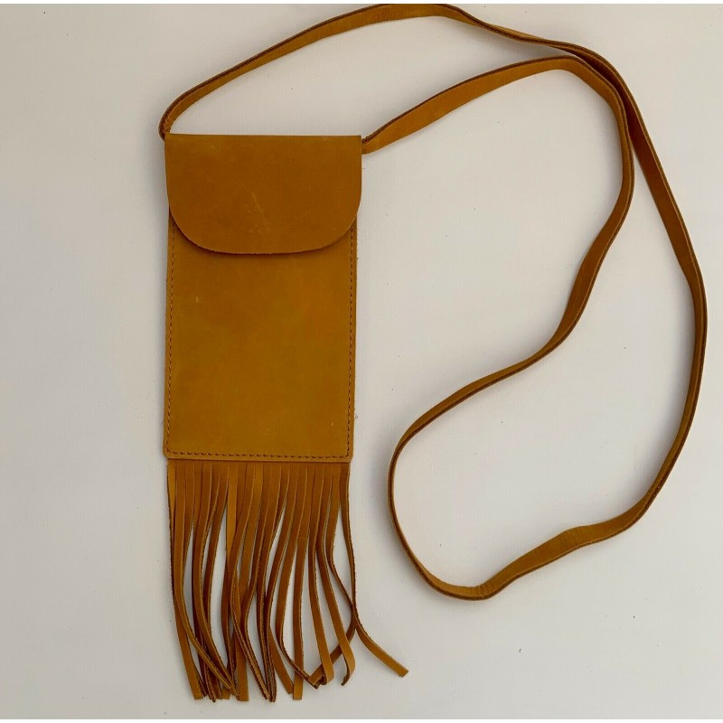 NWT LF 7 CHI TAN BROWN SUEDE LEATHER SHOULDER HAND BAG CROSS BODY POUCH FRINGE