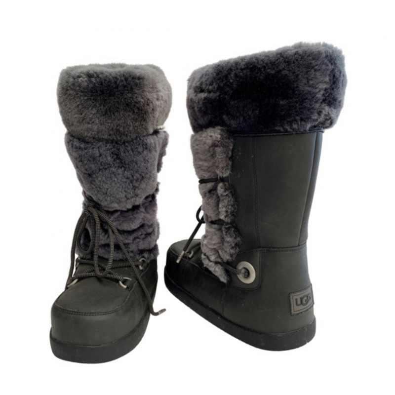 UGG AUSTRALIA BLACK & GRAY SHEEPSKIN RUBBER SNOW SKI BOOTS WATERPROOF GREY USA 7