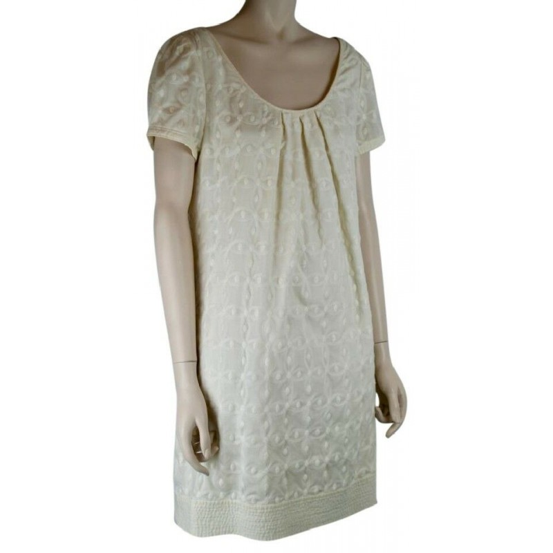 JUICY COUTURE IVORY CREAM COTTON DRESS, EMBROIDERY, CAP SLEEVES, LINED, SIZE 10