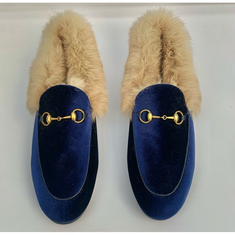 PRINCETOWN REAL FUR BLUE VELVET LEATHER SHOES SLIPPERS, HORSE BIT, USA 9, 9.5